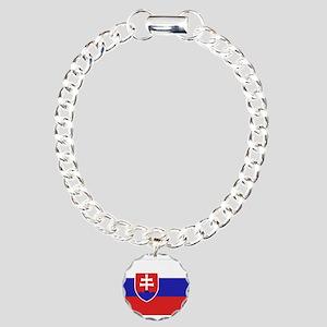 Slovakia Flag Charm Bracelet, One Charm