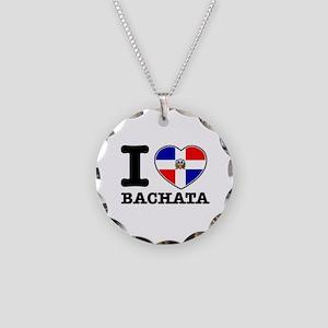 I love Bachata Necklace Circle Charm