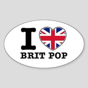 I love Brit Pop Sticker (Oval)