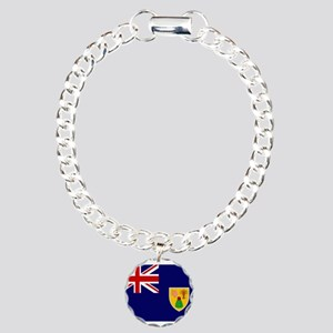 Turks and Caicos Flag Charm Bracelet, One Charm