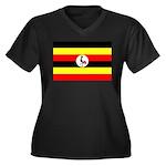 Uganda Flag Women's Plus Size V-Neck Dark T-Shirt