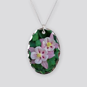 Pink columbine flowers Necklace Oval Charm