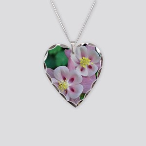 Pink columbine flowers Necklace Heart Charm