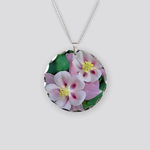 Pink columbine flowers Necklace Circle Charm