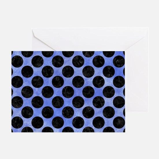CIRCLES2 BLACK MARBLE & BLUE WATERCO Greeting Card