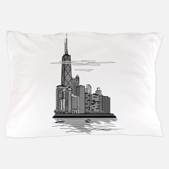 Chicago Skyline Art Pillow Case