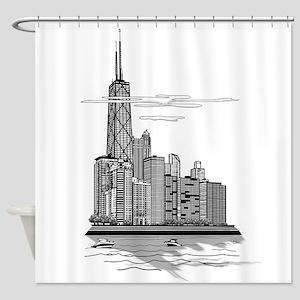 Chicago Skyline Art Shower Curtain