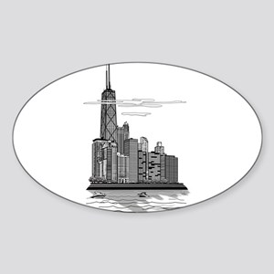 Chicago Skyline Art Sticker (Oval)