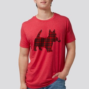 Scottish Terrier Tartan Mens Tri-blend T-Shirt