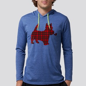 Scottish Terrier Tartan Mens Hooded Shirt