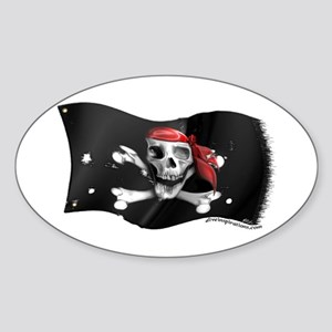 Caribbean Pirate Flag Oval Sticker