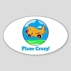 Plane Crazy Kids Oval Sticker