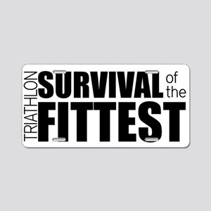 Survival of the Fittest Tri Aluminum License Plate