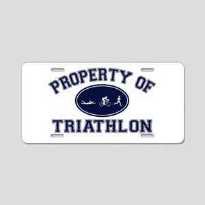 Property of Triathlon Icons Aluminum License Plate