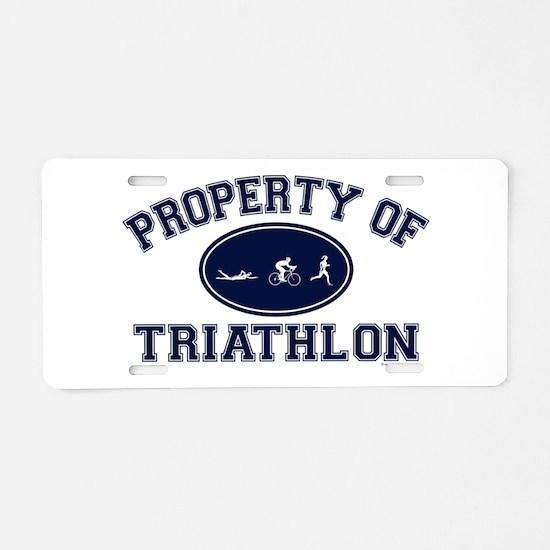 Property of Triathlon Icons Aluminum License Plate