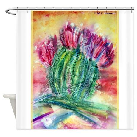 Bright, cactus art Shower Curtain