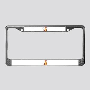Cute Ginger Cat Art License Plate Frame