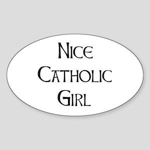 catholic girl Sticker (Oval)