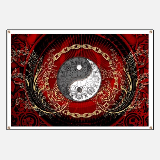The sign ying and yang on vinatge background Banne