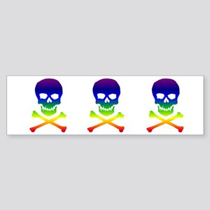 Rainbow Skull and Bones Bumper Sticker