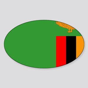 Zambia Flag Sticker (Oval)