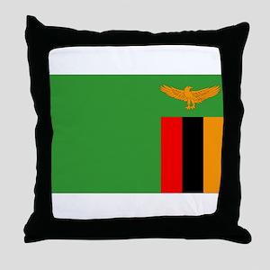 Zambia Flag Throw Pillow