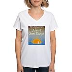 About San Diego Women's White V-Neck Shirt