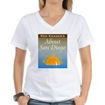 About San Diego Women's White V-Neck Shirt