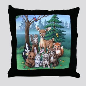 Forest Family Throw Pillow
