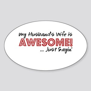 Husbands Wife Awesome Sticker (Oval)