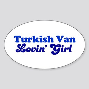 Turkish Van Cat Loving Girl Oval Sticker