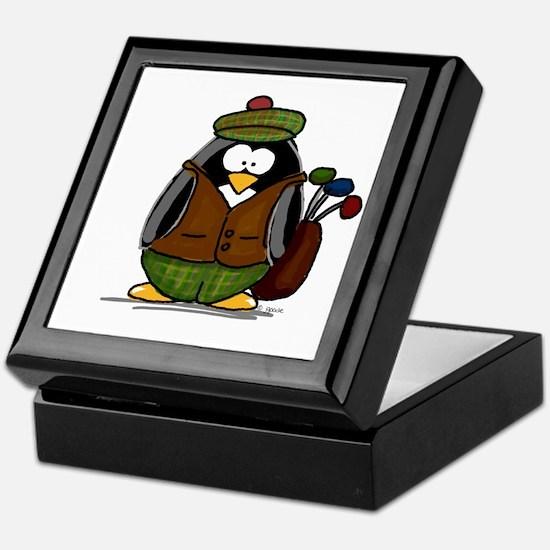 Golf Penguin Keepsake Box