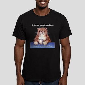 Coffee Cat Men's Fitted T-Shirt (dark)