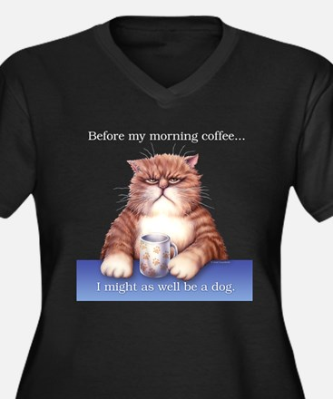 Coffee Cat Women's Plus Size V-Neck Dark T-Shirt
