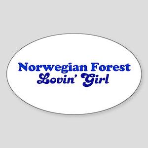Norwegian Forest Cat Loving G Oval Sticker