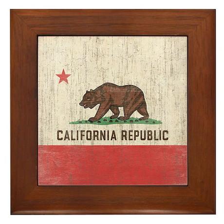 Vintage California Republic Flag Framed Tile