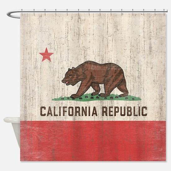 Vintage California Republic Flag Shower Curtain
