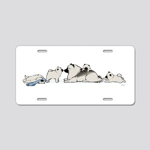 Keeshond with Puppies Aluminum License Plate