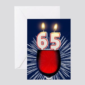65th birthday wine and birthday candles Greeting C