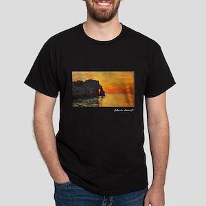 Etretat, Cliff of d`Aval, Sunset, Monet, Dark T-Sh