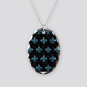 ROYAL1 BLACK MARBLE & BLUE-GRE Necklace Oval Charm