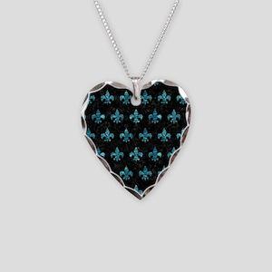 ROYAL1 BLACK MARBLE & BLUE-GR Necklace Heart Charm