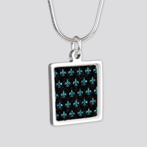 ROYAL1 BLACK MARBLE & BLUE Silver Square Necklace