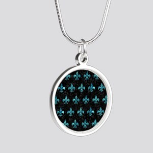 ROYAL1 BLACK MARBLE & BLUE-G Silver Round Necklace