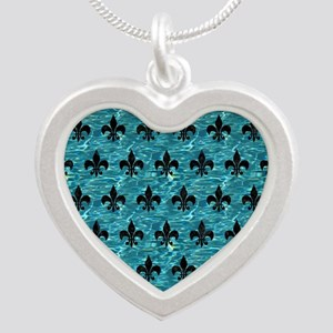 ROYAL1 BLACK MARBLE & BLUE-G Silver Heart Necklace