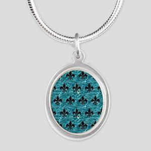 ROYAL1 BLACK MARBLE & BLUE-GR Silver Oval Necklace