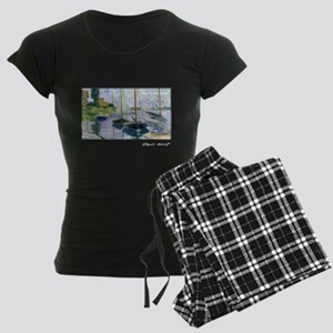Barques au repos, Monet, Women's Dark Pajamas