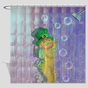 Showering Leprechaun Shower Curtain