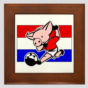 Croatia Soccer Pigs Framed Tile