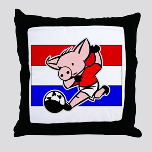 Croatia Soccer Pigs Throw Pillow